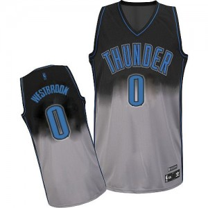 Maillot Adidas Gris noir Fadeaway Fashion Authentic Oklahoma City Thunder - Russell Westbrook #0 - Homme