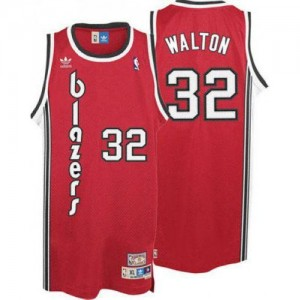Maillot NBA Rouge Bill Walton #32 Portland Trail Blazers Throwback Swingman Homme Adidas