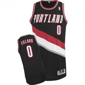 Maillot Authentic Portland Trail Blazers NBA Road Noir - #0 Damian Lillard - Femme
