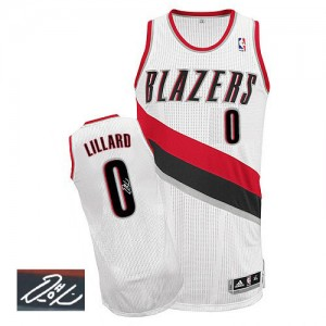 Maillot NBA Portland Trail Blazers #0 Damian Lillard Blanc Adidas Authentic Home Autographed - Homme