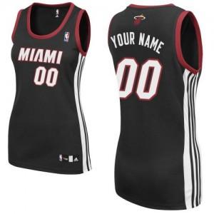 Maillot Adidas Noir Road Miami Heat - Authentic Personnalisé - Femme
