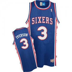 Philadelphia 76ers #3 Adidas Throwack Bleu Authentic Maillot d'équipe de NBA achats en ligne - Allen Iverson pour Homme