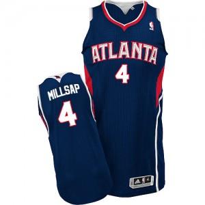 Atlanta Hawks Paul Millsap #4 Road Authentic Maillot d'équipe de NBA - Bleu marin pour Homme