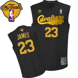 Maillot NBA Swingman LeBron James #23 Cleveland Cavaliers Throwback 2015 The Finals Patch Noir - Homme