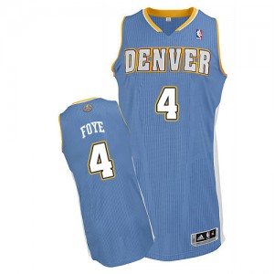 Denver Nuggets Randy Foye #4 Road Authentic Maillot d'équipe de NBA - Bleu clair pour Homme