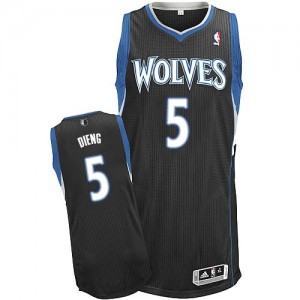 Minnesota Timberwolves Gorgui Dieng #5 Alternate Authentic Maillot d'équipe de NBA - Noir pour Homme