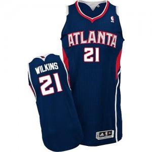 Maillot Adidas Bleu marin Road Authentic Atlanta Hawks - Dominique Wilkins #21 - Homme