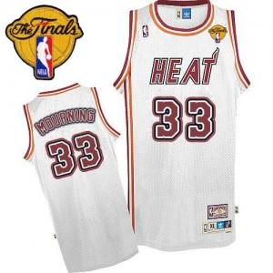 Miami Heat #33 Adidas Throwback Finals Patch Blanc Authentic Maillot d'équipe de NBA magasin d'usine - Alonzo Mourning pour Homme