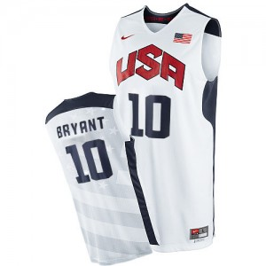 Maillot NBA Team USA #10 Kobe Bryant Blanc Nike Authentic 2012 Olympics - Homme
