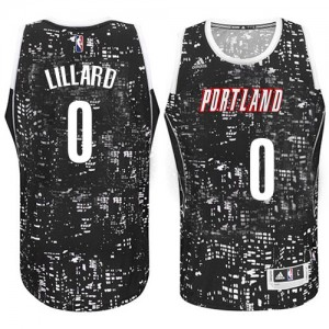 Maillot Authentic Portland Trail Blazers NBA City Light Noir - #0 Damian Lillard - Homme