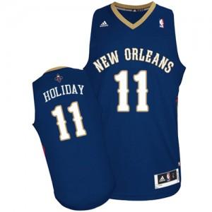 Maillot NBA Bleu marin Jrue Holiday #11 New Orleans Pelicans Road Swingman Homme Adidas