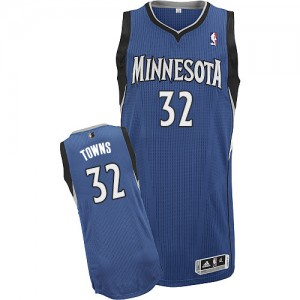 Maillot NBA Minnesota Timberwolves #32 Karl-Anthony Towns Slate Blue Adidas Authentic Road - Homme
