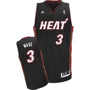 Maillot NBA Noir Dwyane Wade #3 Miami Heat Road Swingman Homme Adidas