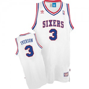 Maillot NBA Blanc Allen Iverson #3 Philadelphia 76ers Throwack Swingman Homme Adidas