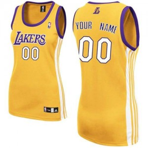 Maillot NBA Authentic Personnalisé Los Angeles Lakers Home Or - Femme