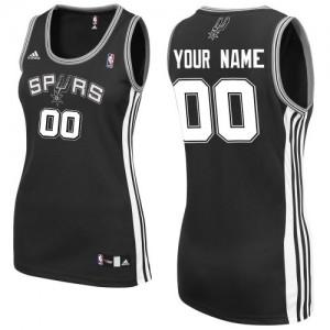 Maillot NBA San Antonio Spurs Personnalisé Swingman Noir Adidas Road - Femme