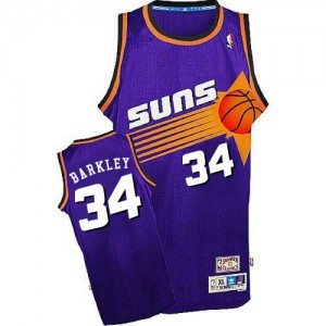 Maillot NBA Violet Charles Barkley #34 Phoenix Suns Throwback Swingman Homme Mitchell and Ness