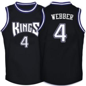 Sacramento Kings #4 Adidas Throwback Noir Authentic Maillot d'équipe de NBA Peu co?teux - Chris Webber pour Homme