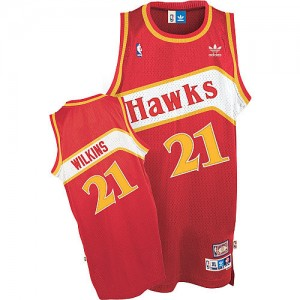 Maillot Authentic Atlanta Hawks NBA Throwback Rouge - #21 Dominique Wilkins - Homme