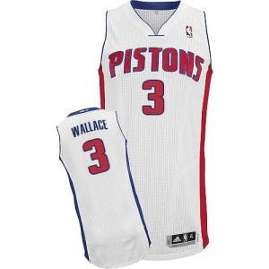 Detroit Pistons Ben Wallace #3 Home Authentic Maillot d'équipe de NBA - Blanc pour Homme