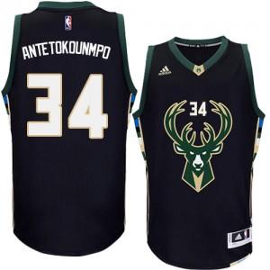 Milwaukee Bucks #34 Adidas Alternate Noir Authentic Maillot d'équipe de NBA Soldes discount - Giannis Antetokounmpo pour Homme