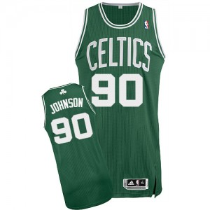 Maillot NBA Vert (No Blanc) Amir Johnson #90 Boston Celtics Road Authentic Homme Adidas