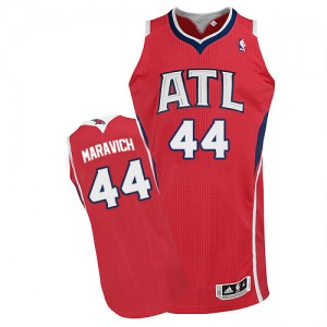 Maillot NBA Rouge Pete Maravich #44 Atlanta Hawks Alternate Authentic Homme Adidas