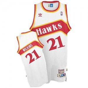 Maillot NBA Blanc Dominique Wilkins #21 Atlanta Hawks Throwback Swingman Homme Adidas