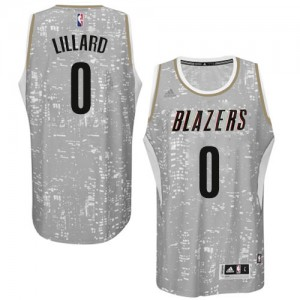 Maillot NBA Authentic Damian Lillard #0 Portland Trail Blazers City Light Gris - Homme