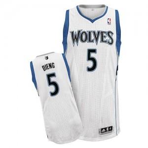 Minnesota Timberwolves Gorgui Dieng #5 Home Authentic Maillot d'équipe de NBA - Blanc pour Homme