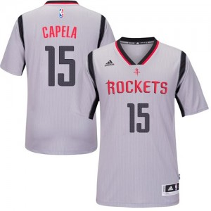 Houston Rockets Clint Capela #15 Alternate Authentic Maillot d'équipe de NBA - Gris pour Homme