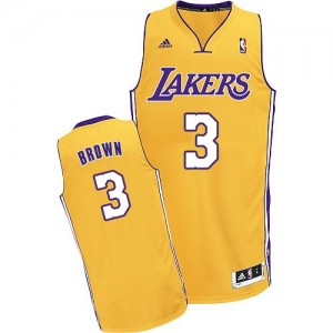 Maillot NBA Los Angeles Lakers #3 Anthony Brown Or Adidas Swingman Home - Homme