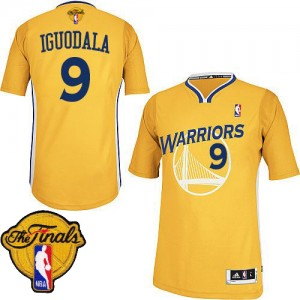 Maillot NBA Authentic Andre Iguodala #9 Golden State Warriors Alternate 2015 The Finals Patch Or - Homme