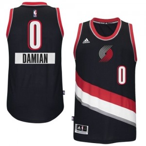 Maillot NBA Noir Damian Lillard #0 Portland Trail Blazers 2014-15 Christmas Day Swingman Homme Adidas