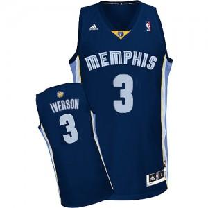 Maillot NBA Authentic Allen Iverson #3 Memphis Grizzlies Road Bleu marin - Homme