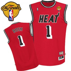 Maillot NBA Miami Heat #1 Chris Bosh Rouge Adidas Swingman Hardwood Classics Nights Finals Patch - Homme