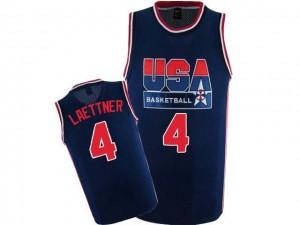 Maillot NBA Team USA #4 Christian Laettner Bleu marin Nike Authentic 2012 Olympic Retro - Homme