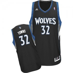 Maillot NBA Noir Karl-Anthony Towns #32 Minnesota Timberwolves Alternate Swingman Homme Adidas