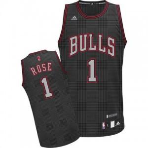 Maillot NBA Noir Derrick Rose #1 Chicago Bulls Rhythm Fashion Swingman Homme Adidas