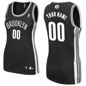Maillot NBA Noir Authentic Personnalisé Brooklyn Nets Road Femme Adidas