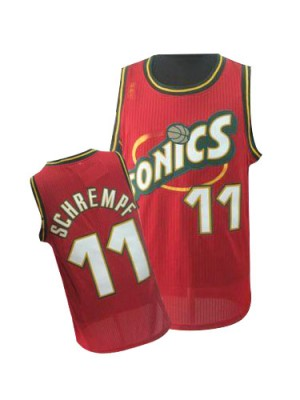 Maillot NBA Oklahoma City Thunder #11 Detlef Schrempf Rouge Adidas Authentic Throwback SuperSonics - Homme