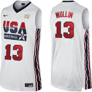 Maillot Nike Blanc 2012 Olympic Retro Authentic Team USA - Chris Mullin #13 - Homme
