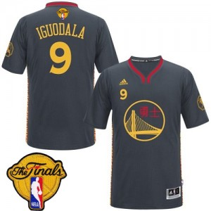 Golden State Warriors Andre Iguodala #9 Slate Chinese New Year 2015 The Finals Patch Authentic Maillot d'équipe de NBA - Noir pour Homme