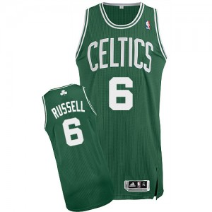Maillot NBA Vert (No Blanc) Bill Russell #6 Boston Celtics Road Authentic Homme Adidas