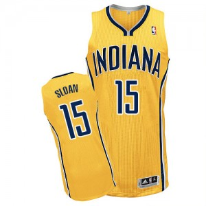Maillot NBA Indiana Pacers #15 Donald Sloan Or Adidas Authentic Alternate - Homme