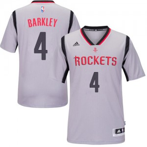 Houston Rockets #4 Adidas Alternate Gris Authentic Maillot d'équipe de NBA boutique en ligne - Charles Barkley pour Homme