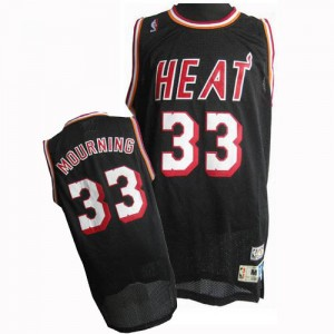 Maillot Adidas Noir Throwback Finals Patch Authentic Miami Heat - Alonzo Mourning #33 - Homme