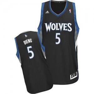Maillot NBA Noir Gorgui Dieng #5 Minnesota Timberwolves Alternate Swingman Homme Adidas