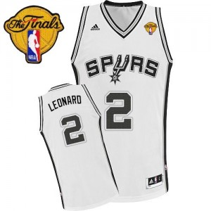 Maillot Adidas Blanc Home Finals Patch Swingman San Antonio Spurs - Kawhi Leonard #2 - Enfants