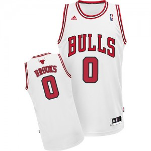 Maillot NBA Blanc Aaron Brooks #0 Chicago Bulls Home Swingman Homme Adidas